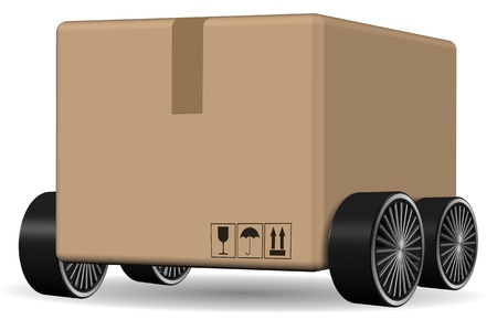 courier service: Brown cardboard box with wheels attached to it