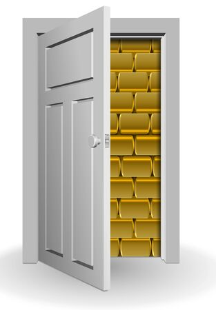 behind bars: A white door half open and a wall of golden bars behind it Stock Photo