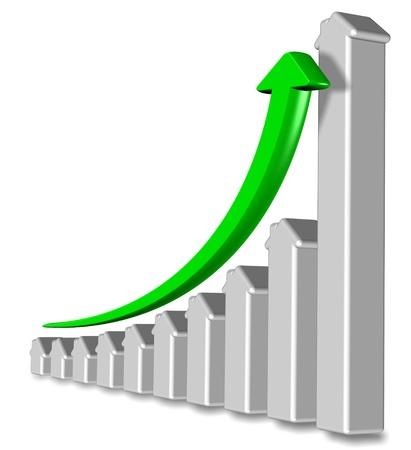 fleche verte: Tableau fabriqu�s � partir de formes des maisons avec une fl�che verte pointant vers le haut