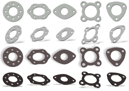 Collection of white and brown 3d gaskets