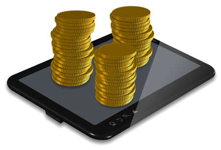 PC tablet with stacks of golden coins Stock Photo - 17446445