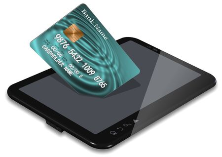 Credit card coming from a PC tablet Stock Photo - 17446441