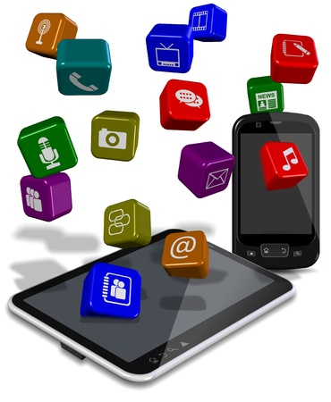 PC tablet and mobile phone with application icons between them Stock Photo - 17446437