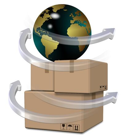 delivery service: Earth globe on top of brown cardboard boxes