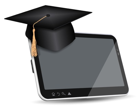 e learning: Graduate cap sitting on top of PC tablet Stock Photo