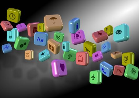 Group of 3d application icons suspended in the air Stock Photo - 17540842