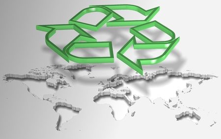 Green recycling symbol suspended in the air above world map Stock Photo - 17540849
