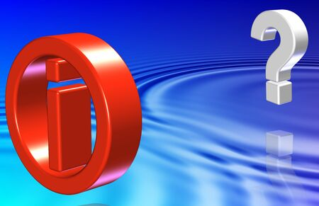 White 3d question mark and red information symbol hovering above water Stock Photo - 17692996