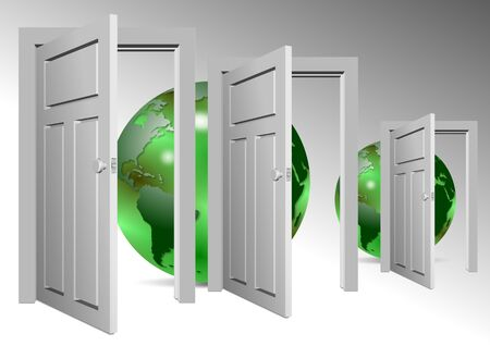 open doors: A group of open doors and earth globes behind them