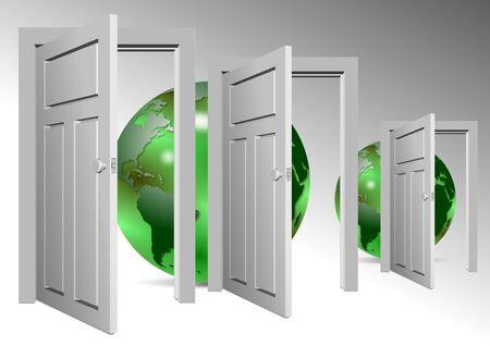 open doors: Un grupo de puertas abiertas y globos de tierra detrás de ellos