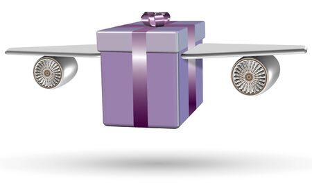 courier service: Wrapped purple present box with airplane wings attached to it Stock Photo