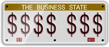 White license plates with dollar symbols on it Stock Photo