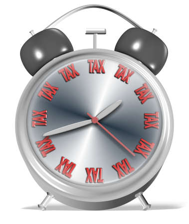 replaced: An alarm clock with numbers replaced by a word spelling tax
