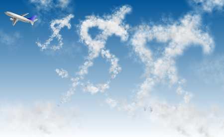 Clouds in a shape of dollar symbol and an airplane Stock Photo