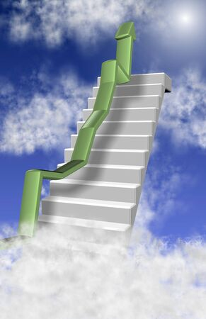going up: White stairs and a chart arrow coming from clouds