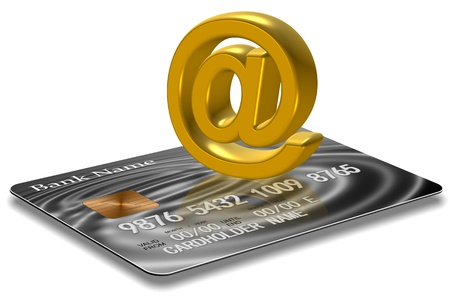 3d illustration of a credit card and golden at symbol Stock Illustration - 17885767