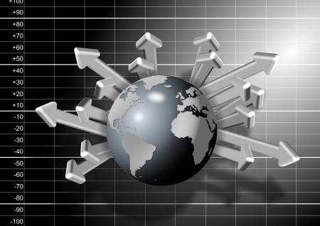 Black and white chart graph with earth globe and arrows in front of it Stock Photo - 17885769