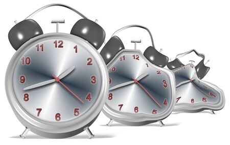 disappear: 3d illustration of a group of clocks slowly melting Stock Photo