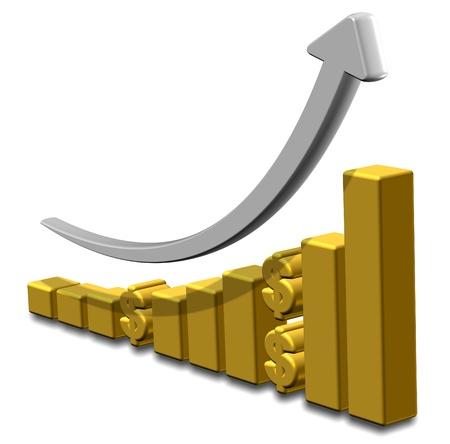 Golden upward chart with dollar symbols and an arrow Stock Photo - 18049628