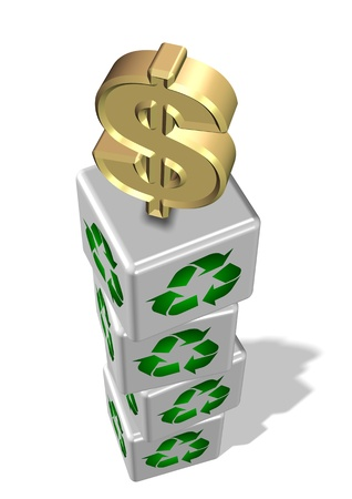 White 3d cubes with recycling symbol on them and golden dollar symbol on the top Stock Photo - 18049617