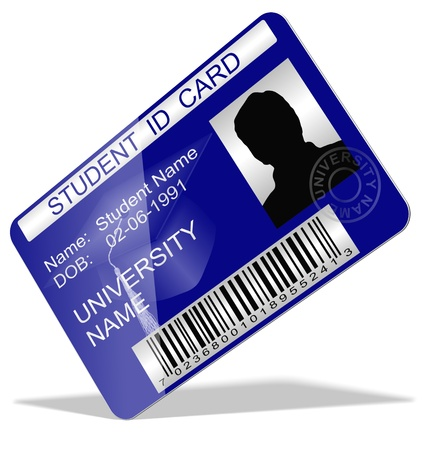 registration: 3d illustration of a student ID card