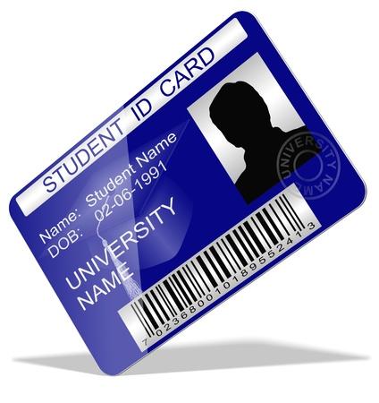 personal identity: Ilustraci�n 3d de una tarjeta de estudiante Foto de archivo