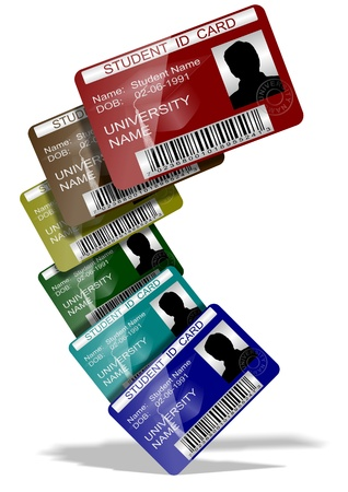 id card: 3d illustration of a group of student ID cards suspended in the air