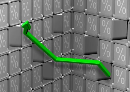 Abstract 3d illustration of percent symbol and green arrow Stock Illustration - 18154282