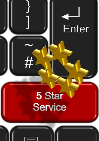 gold standard: Part of keyboard with a five star service button Stock Photo