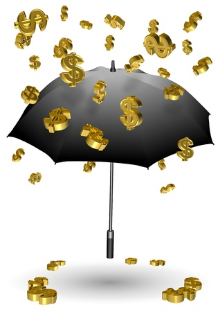 Golden dollar symbols falling down on a black umbrella Stock Photo - 18154285