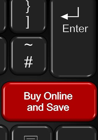 Part of keyboard with a buy online and save button Stock Photo - 18307231