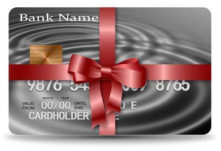Credit card nicely wrapped with a red ribbon Stock Photo - 18307234