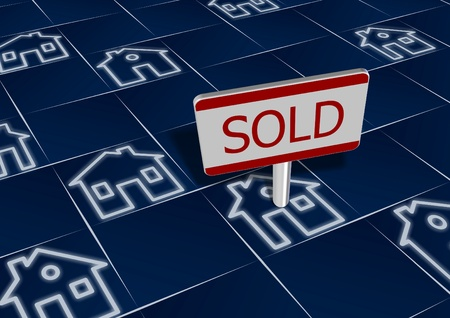 real estate sold: Group of house icons with a sign sold on one of them