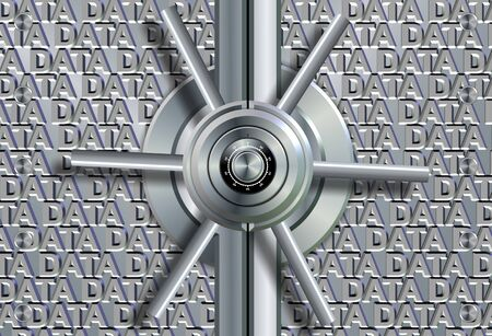 Vault lock in front of group of words spelling data Stock Photo - 18405257