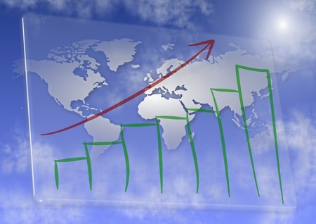 rising graphic: Hand drawn chart on glass with world map in the background