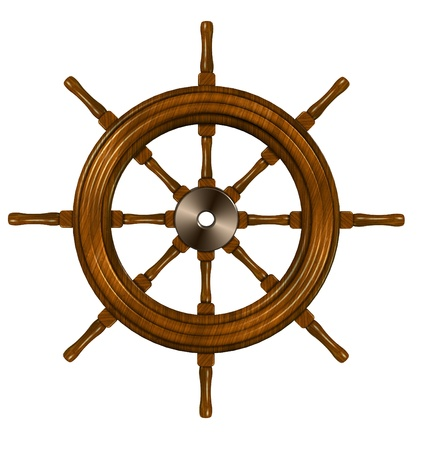 steering: 3d illustration of a ship wheel on the white background