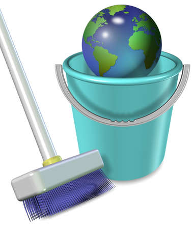 cleaning planet: Broom and plastic bucket with earth globe in it