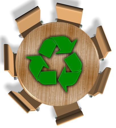 Chairs around round wooden table and recycling symbol on the top Stock Photo - 18705729