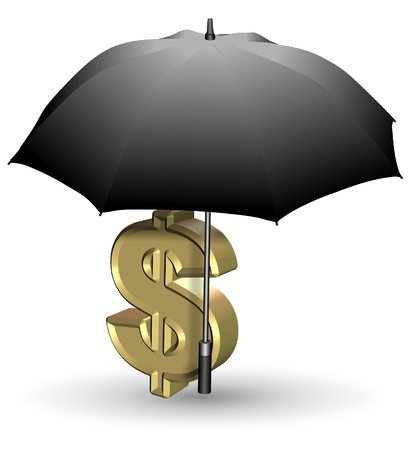 symbols metaphors: Golden dollar symbol under open black umbrella