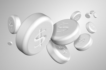 A group of white tablets with dollar symbol on them