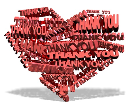 Shape of a heart made from words thank you