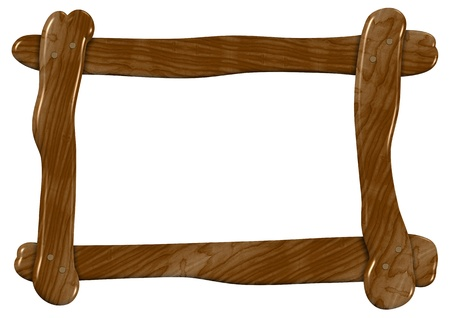 wooden frame: An illustration of a roughly made wooden frame Stock Photo