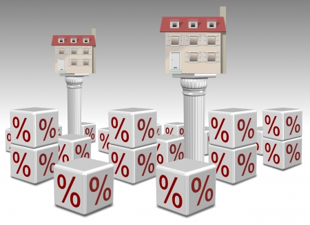 Houses on columns surrounded by percentage symbols