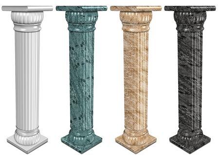 roman columns: 3d illustration of a set of marble columns Stock Photo