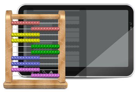 abaco: 3d ilustración de un ábaco de madera y tablet PC