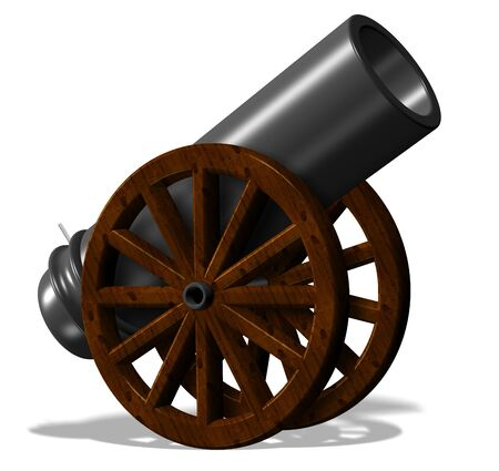a cannon: 3d illustration of black antique cannon with wooden wheels