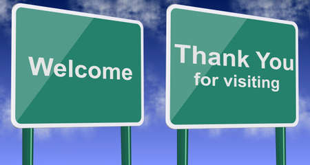 you are welcome: Welcome and thank you for visiting green road signs with blue sky in the background Stock Photo