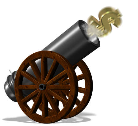 launched: Golden dollar symbol fired from black vintage cannon