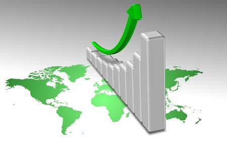 A green world map and upward chart above it photo