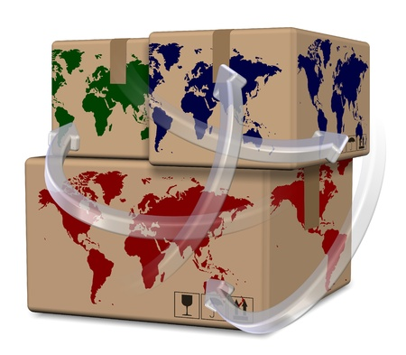 Group of brown cardboard boxes with world map printed on them